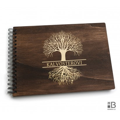 Ring wooden photo album  - Family tree (dark)