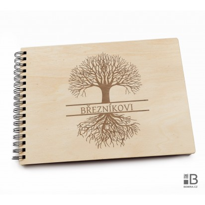 Ring wooden photo album  - Family memories (light)