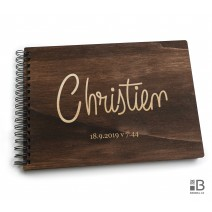 Ring wooden photo album  - name (dark)