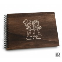 Ring wooden photo album  - Wedding 1 (dark)