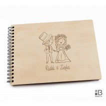 Ring wooden photo album  - Wedding 1 (light)