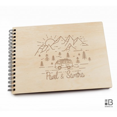 Ring wooden photo album  - Travel (light)