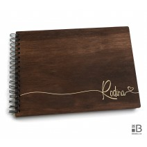 Ring wooden photo album  - Rodina 3 (dark)