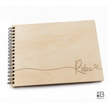 Ring wooden photo album - Rodina 3 (light)