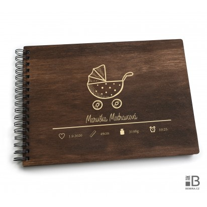 Ring wooden photo album - Little girl 1 (dark)