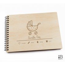 Ring wooden photo album - Little girl 1 (light)