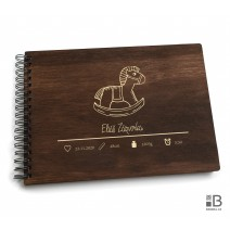 Ring wooden photo album  - Little boy 1 (dark)