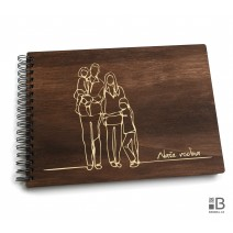Ring wooden photo album - Our Family (dark)