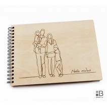 Ring wooden photo album - Our Family (light)