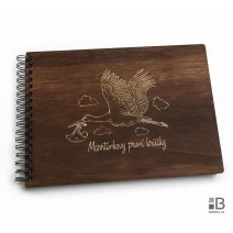 Ring wooden photo album  - Newborn (dark)