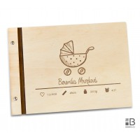Wooden photo album - Our little girl (text variable)