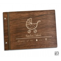 Wooden photo album - Our little girl (text variable) dark