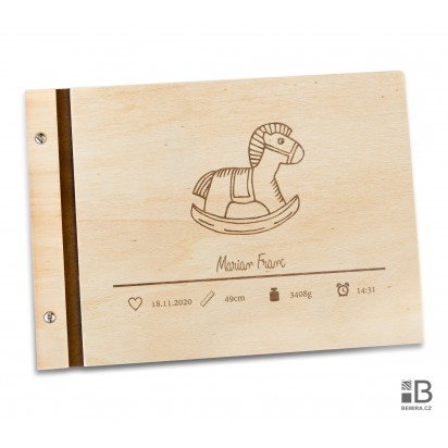 Wooden photo album - Our little boy (text variable)