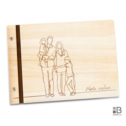 Custom wooden photo album - Big Family (light)