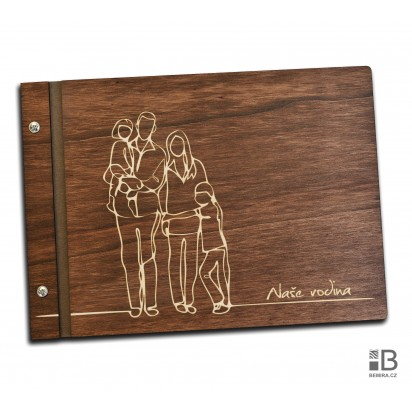 Custom wooden photo album - Big Family (dark)