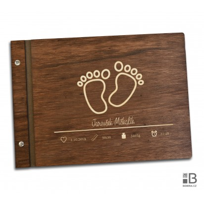 Wooden photo album - Newborn (dark)