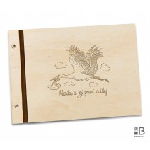 Wooden photo album - Stork