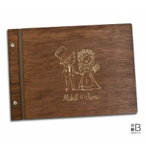 Custom wooden photo album - Wedding (dark)