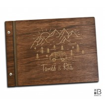 Custom wooden photo album - travel (dark)