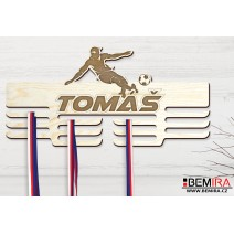 Wooden medals hanger with custom name (Football)