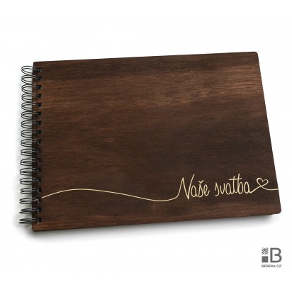 Ring wooden photo album - Our wedding 2 (dark)