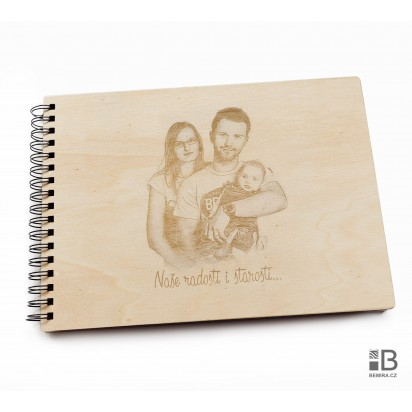 Ring wooden photo album -  Your photo (light)