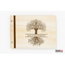 Custom wooden photo album - Tree of life with your text (light)