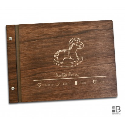 Wooden photo album - Our little boy (text variable) dark