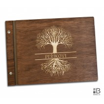 Custom wooden photo album - Tree of life with your text (dark)