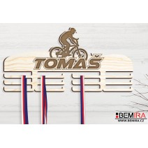 Wooden medals hanger with custom name (Cyclo)