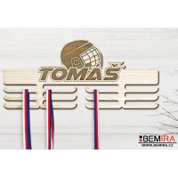 Wooden medals hanger with custom name (Hockey)