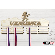 Wooden medals hanger with custom name (Run)