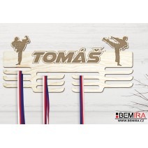 Wooden medals hanger with custom name (Fight)