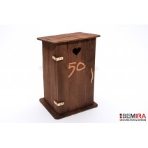 Wooden latrine - cash box with any inscription (dark)